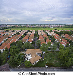 aerial view of home village and green park in bangkok thailand