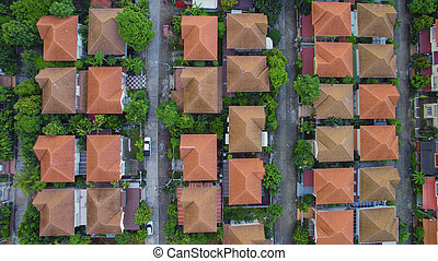 aerial view of home village in bangkok thailand¯