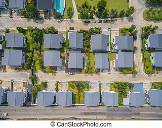 aerial view of home village in bangkok thailand