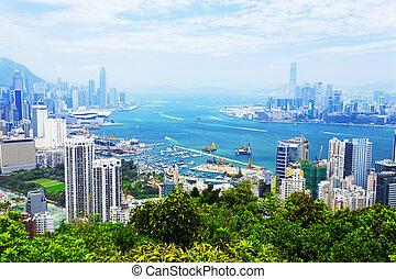 Aerial view of Hong Kong harbor - Hong Kong harbor daytime...
