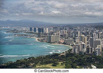 Aerial view of Honolulu and Waikiki
