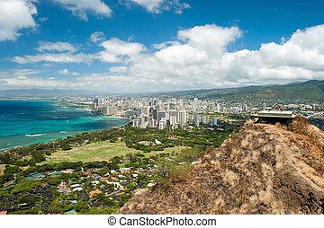 Aerial view of Honolulu and Waikiki beach from Diamond Head