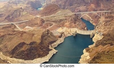 aerial view of hoover dam at grand canyon - landscape and...