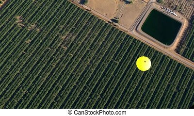 Aerial View of Hot Air Balloon - Aerial Hot Air Balloon Ride