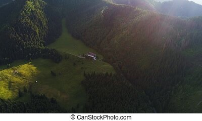 aerial view of hotel in beautiful mountains