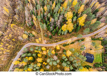 Aerial view of house and colorful forests on a autumn day in Finland. Drone photography