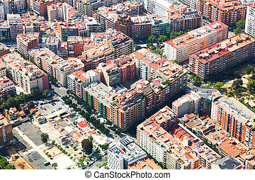 Aerial view of houses at residential district