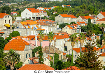 Aerial view of houses in Cavtat