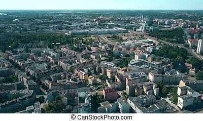 Aerial view of houses in Poznan, Poland - Aerial view of...