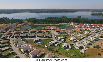 Aerial view of houses in Sweden