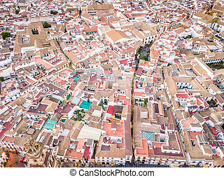 Aerial view of houses in the city center of Cordoba, Spain
