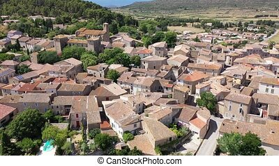 Aerial view of houses of Fontcouverte commune in Aude ...