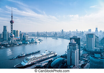 aerial view of huangpu river - a bird's eye view of the...