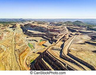 Aerial view of huge, open pit mine