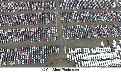 Aerial view of huge parking lot