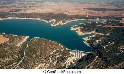 Aerial view of hydroelectric power plant at the Alarcon Dam on the Jucar River, Spain