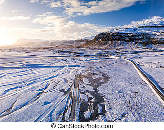 Aerial view of iceland landscape in winter