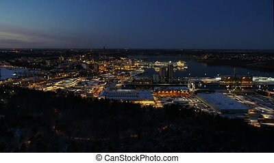 Aerial view of illuminatet city after sunset. Stockholm, Sweden