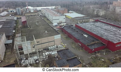 Aerial view of industrial buildings on the plant area -...