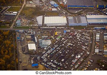 Aerial view of industrial district - Aerial view of the ...