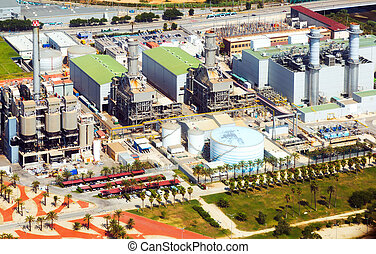 Aerial view of Industry power plant from helicopter....