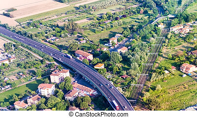 Aerial view of Interstate and railway