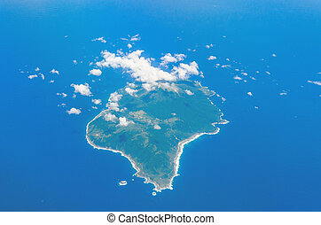 Aerial view of island and blue ocean in toshima kagoshima japan