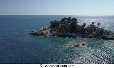 Aerial view of island in front of Petrovac.
