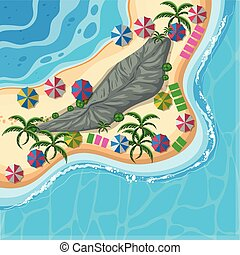 Aerial view of island in the ocean