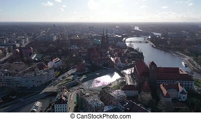 Picturesque view from drone of city of Wroclaw with Ostrow Tumski island and Cathedral of St. John the Baptist, Poland