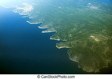 Aerial view of island Solta in Croatia.