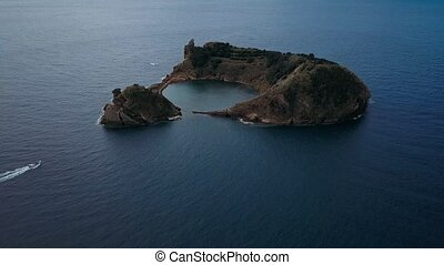 Aerial view of Islet of Vila Franca do Campo is formed by...