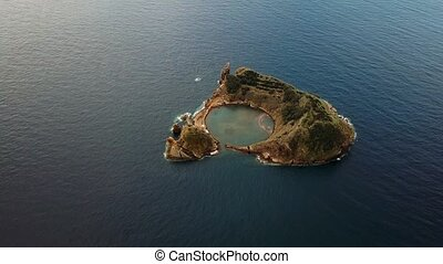 Aerial view of Islet of Vila Franca do Campo near San Miguel...
