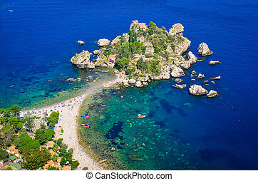 Aerial view of Isola Bella beach in Taormina, Sicily, Italy