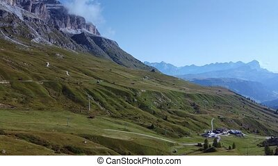 Aerial view of Italian cable car in the Dolomites