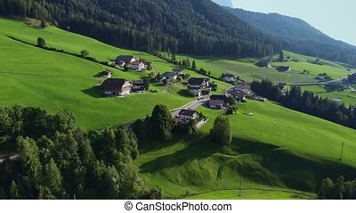 Aerial view of Italian village in Alps
