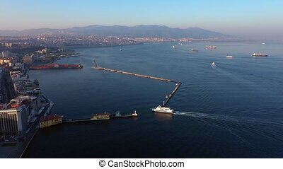 Aerial view of Izmir city by the sea in Turkey.