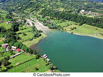 aerial view of Izvorul Muntelui (Bicaz) lake in Romania