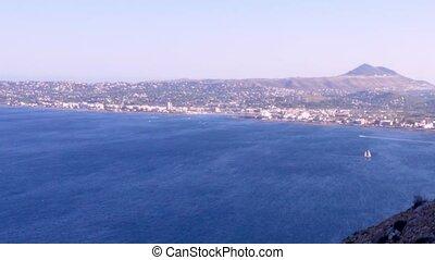 Aerial view of Javea Bay from San Antonio Cape, Alicante,...