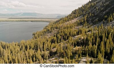 Aerial view of Jenny Lake in Grand Teton National Park.