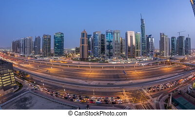 Aerial view of Jumeirah lakes towers skyscrapers day to...