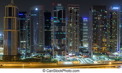 Aerial view of Jumeirah lakes towers skyscrapers during all...