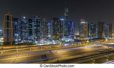 Aerial view of Jumeirah lakes towers skyscrapers night...