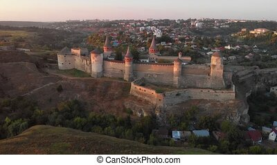 Aerial View of Kamianets Podilskyi Castle in Ukraine