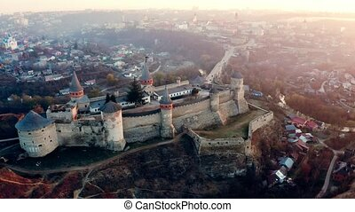 Aerial view of Kamianets Podilskyi fort in sunlight
