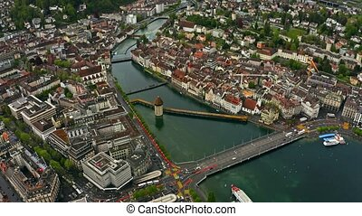 Aerial view of Kapellbrucke or Chapel Bridge within the...