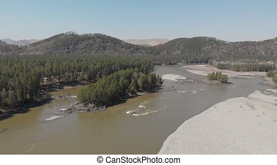 Aerial view of Katun river, in Altai mountains, cinematic...