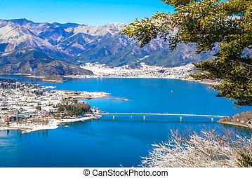 Aerial view of Kawaguchiko lake
