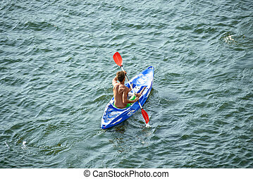 Aerial View of Kayaker on Beautiful River or Lake