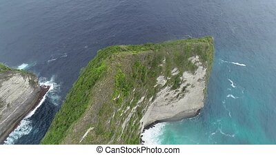 Aerial view of Kelingking Beach in Nusa Penida, Bali